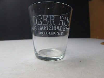 Vintage 1890S Deer Run Whiskey Shot Glass Aug Baetzhold Buffalo New York