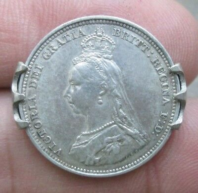 1887 Great Britain Queen Victoria One Shilling Silver Coin Brooch Pin Nice NR