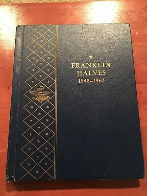 Complete (1948-1963) Franklin Half dollar set in Whitman book. 35 coins total