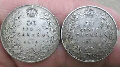 Two 1919 Canada George V Silver Half Dollars No Reserve