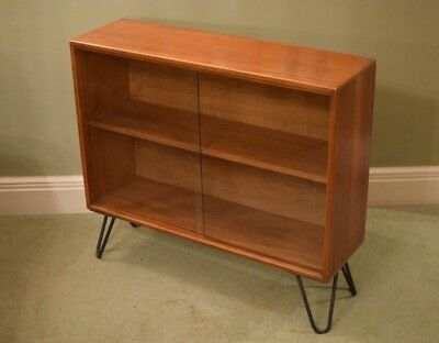 Mid Century bookcase with glass doors and hairpin legs