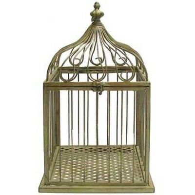 Antique Style Green Metal Bird Cage Large Home Decor Chic Bird Feeder NEW!!
