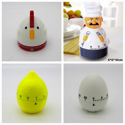 Creative Plastic Mechanical Kitchen Alarm Timer Reminder 60 Min Cooking Tool