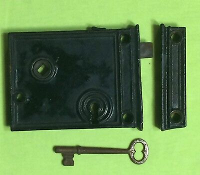 Antique Victorian Era Rim Lock Chantrell Tool Co. with Keeper and Key!
