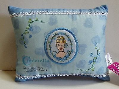 HTF Japan Disney Cinderella Embroidered Blue Roses Mini Pillow