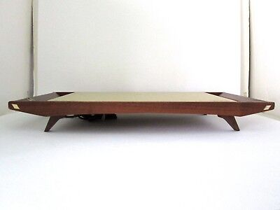 MINTY Vtg Mid Century Danish Modern Walnut Wood Warming Tray Hot Plate WORKS!