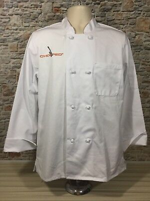 NWT Chefwear Chopped TV Show Chef Jacket Sz M Cross Collar Work Coat Cotton/Poly
