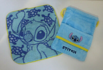 Japan Disney Stitch Wash Cloth with Terrycloth Drawstring Carry Bag