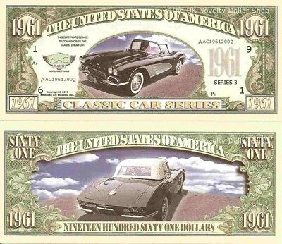 1961 Corvette American Classic Car Dollar Bills x 4