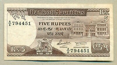 MAURITIUS - ND (1985) 5 Rupees VF