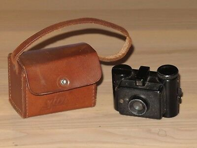 Sida Miniature Camera Spy with Leather Bag Sido 1:8-35mm Vintage in VG