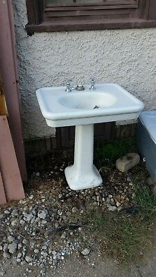 Antique Vintage Porcelain Cast Iron Pedestal Bathroom Sink White