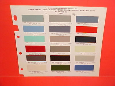 1965 1966 1967 Austin Healey 3000 Sprite Mgb Mg Princess Magnette Iv Paint Chips