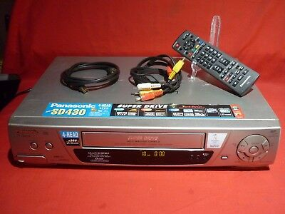 Panasonic Nv-Sd430 Vhs Vcr Video Player & Remote Leads Working Well