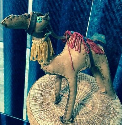 "Vintage 6 1/2"" Hand Made Leather Camel Collector Figurine Decorator Decor Fringe"