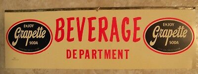 "Grapette Beverage Dept plastic advertising sign 2 sided 20"" soda display"