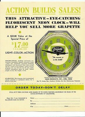 Grapette Soda advertising sheet with Neon clock for $17 Lima Ohio 1940s vintage