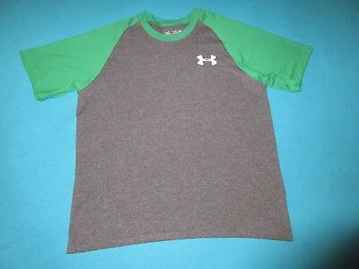 UNDER ARMOUR Boys Short Sleeve Gray Green Shirt Size Large L