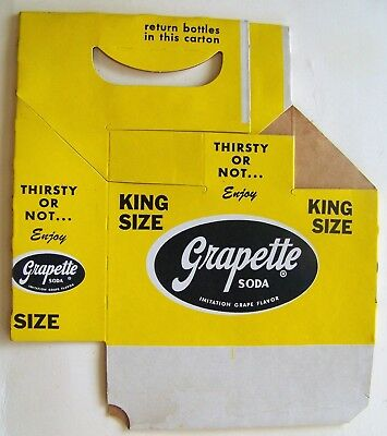 King Size Grapette Soda 6 pack carrier yellow with purple logo unused condition