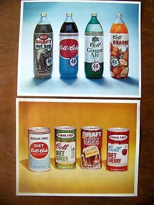 Lot of 6 color photos of Cott soda bottles & cans Root Beer Ginger Ale Diet Cola