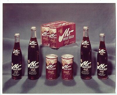 Mr Root Beer glossy color photo glass bottle & steel can Rare Grapette product