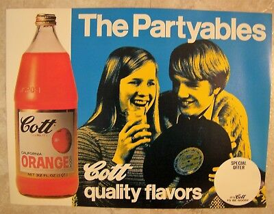 Orange Soda Cott advertising sign The Partyables picture teens with record 1970s