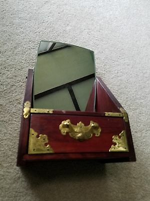 Beautiful Antique  Shaving Comb Wood Box With Mirror and Gold Trim