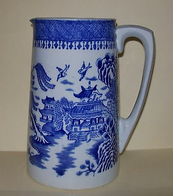 VINTAGE LARGE BLUE & WHITE 'WILLOW' PITCHER JUG 18.5cm (unknown maker)