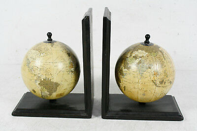 2 Globe Bookends Decorative Home Decor Set