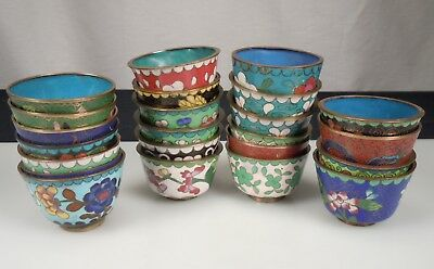 Vintage 23 Chinese Cloisonne Cups