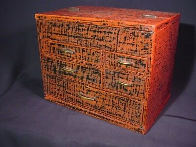 Antique Japanese Sewing Box Haribako Negoro Lacquer with Secret Drawer