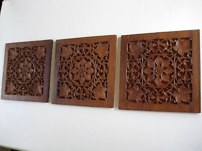 Set of 3 Vintage India Reticulated Carved Hardwood Decorative Panels