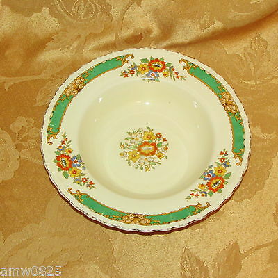 "Vintage Grindley The Selkirk 8"" Rim Soup Bowl Green Band Orange Yellow Flowers"