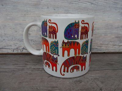 1988 Laurel Burch Fantastic Felines Ceramic Coffee Cup Mug Multi-Color Cats