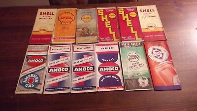 12 Vintage Gas and Oil Road Maps 1930s 1940s RARE