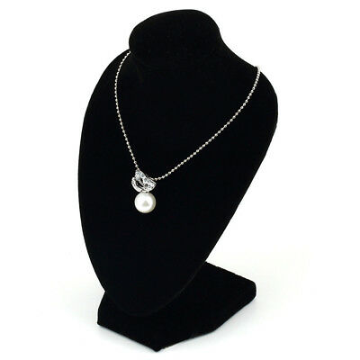 Black Velvet Necklace Pendant Chain Jewelry Bust Display Holder Stand Surprise