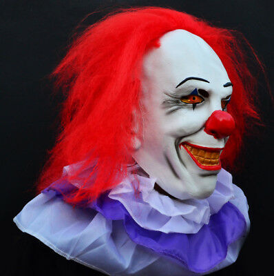 Creepy Evil Scary Halloween Clown Mask Latex Classic PENNYWISE CLOWN