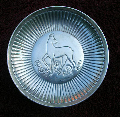 Sterling Silver dish featuring a Deer and flowers.  Has silver stamps probably S