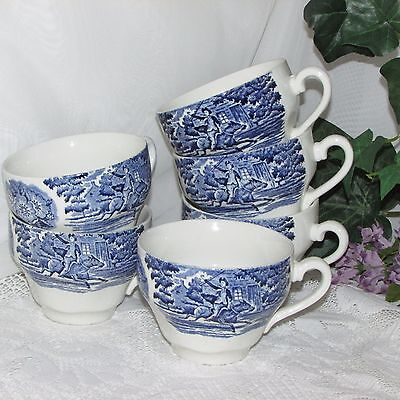 LIBERTY BLUE TOILE TRANSFER CUP ONLY LOT 6 no saucer STAFFORDSHIRE TRANSFERWARE