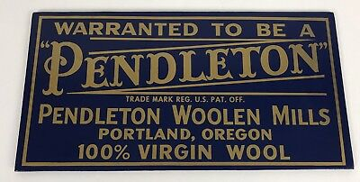 """Pendleton Woolen Mills Store Display Advertising Sign 12"""" X 6.25""""  inches"""