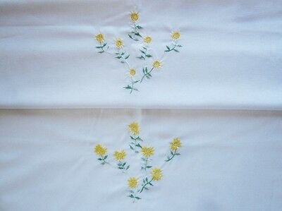 Pair  Embroidered Flowers Daises Pillowcases Yellow/White Cotton