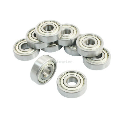10 Pcs 6200Z 10x 30x 9mm Single Row Sealed Deep Groove Ball Bearings Silver Tone