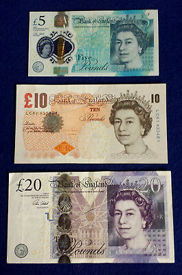 *UK Britain British England One 20 & One 10& One 5 Pounds Banknotes Paper Money*