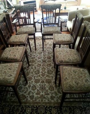 Vintage English oak  upholstered dining chairs, 8, tapestry