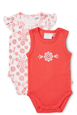 NEW Marquise Frilled Sleeve and Sleeveless Bodysuit 2PK Red