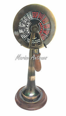 "Brass Antique Telegraph 15"" Vintage Ship Engine Room Decorative Collectible"