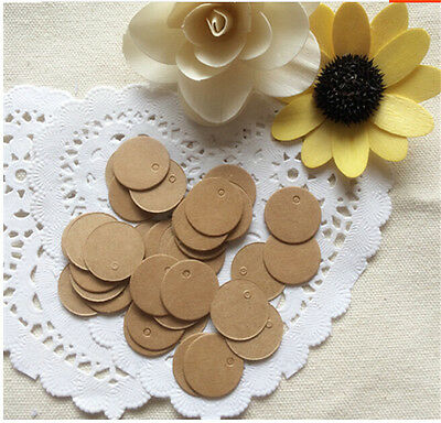 100Pcs Round Brown Tags Price Blank Label Luggage Hang Paper Kraft New