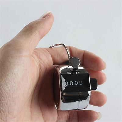 1X Handheld Chrome Tally Counter 4 Digit Number Clicker Golf  People Counting