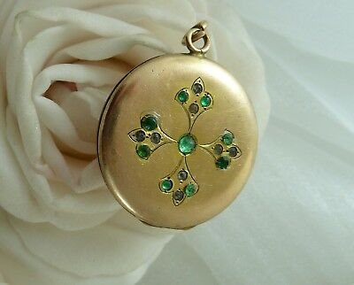 Antique GOLD F LOCKET c1910 Beautifully Decorated with a Design of Green Stones