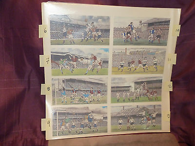 Full Sheet Of 8 Vintage Football And Rugby Waterslide Transfers